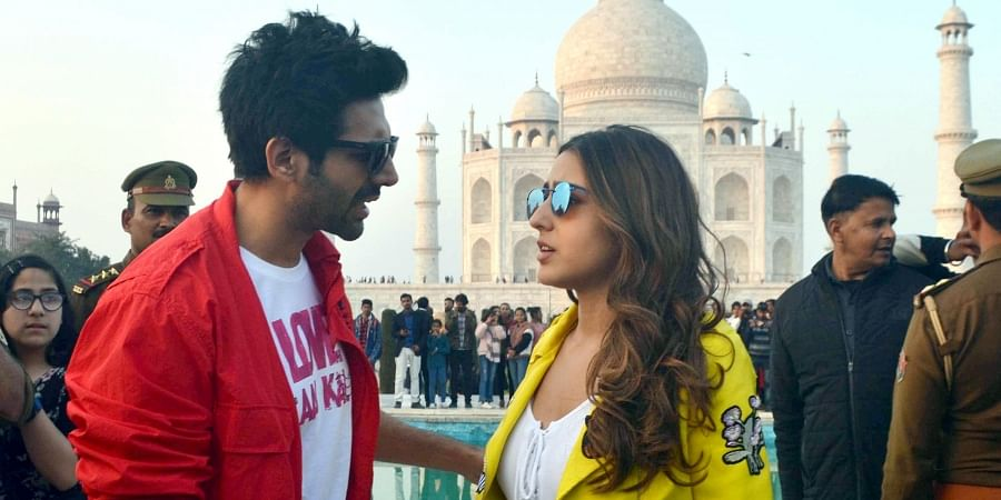 Bollywood actors Sara Ali Khan and Karthik Aryan visits the Taj Mahal during the promotion of their film 'Love Nowadays' in Agra on Tuesday