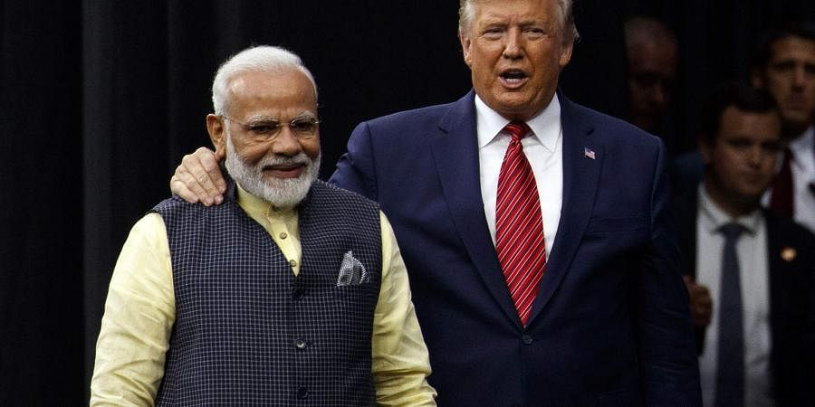 President Donald Trump with Indian Prime Minister Narendra Modi at NRG Stadium.