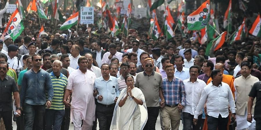 West Bengal CM Mamata Banerjee takes out a protest march against CAA and NRC.