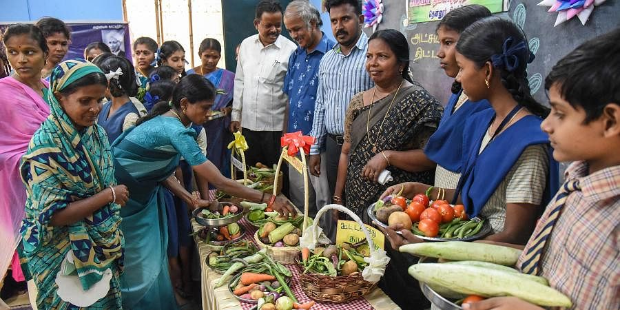The idea is for children to bring whatever vegetables they have at home and keep them in the vessel.