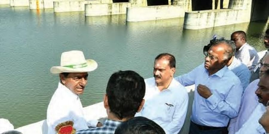 Chief Minister K Chandrasekhar Rao inspects Kaleshwaram project in Karimnagar district on Thursday
