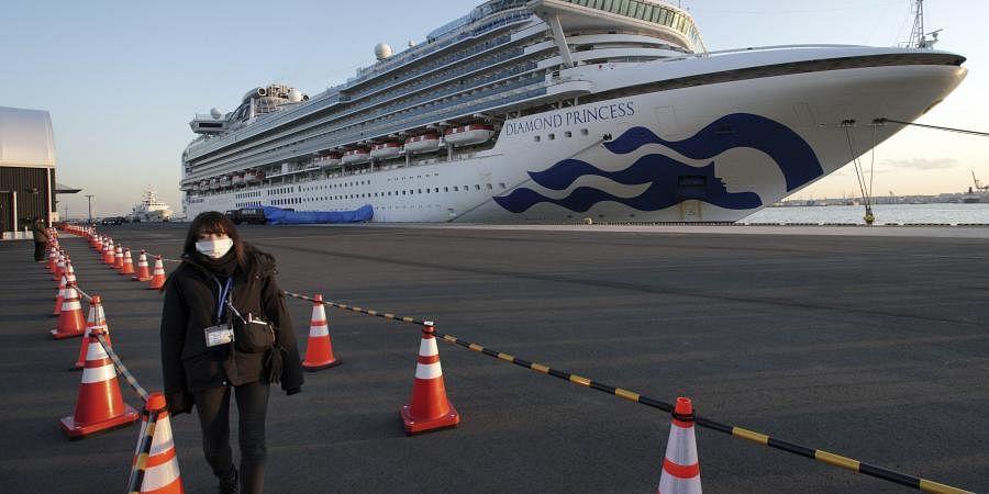 The quarantined cruise ship Diamond Princess anchors at the Yokohama Port, Monday, Feb. 10, 2020, Yokohama, Japan.