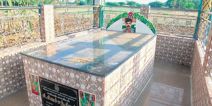 A memorial built for CRPF trooper Sivachandran by his family at Karkudi village in Ariyalur