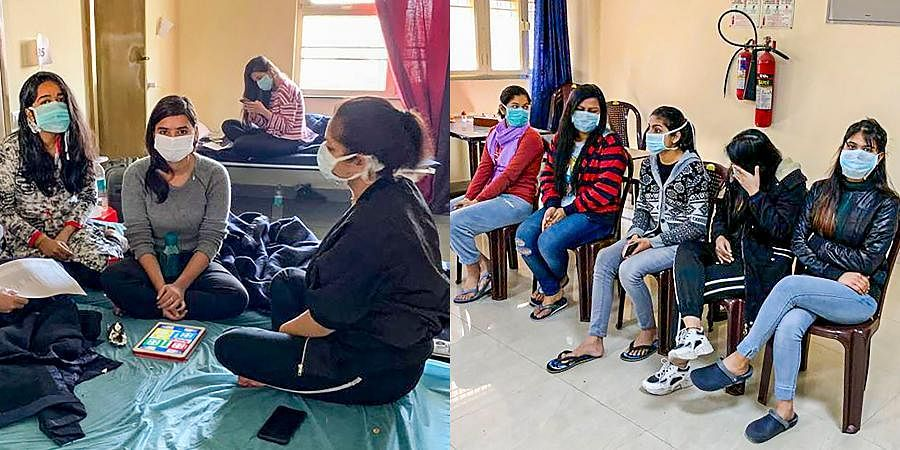 Indian nationals who were airlifted from coronavirus-hit Hubei province of China's Wuhan, at the ITBP's quarantine facility at Chhawla in New Delhi.