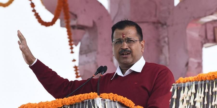Arvind Kejriwal takes oath as Delhi CM in a ceremony at Ramlila Ground in New Delhi on Sunday