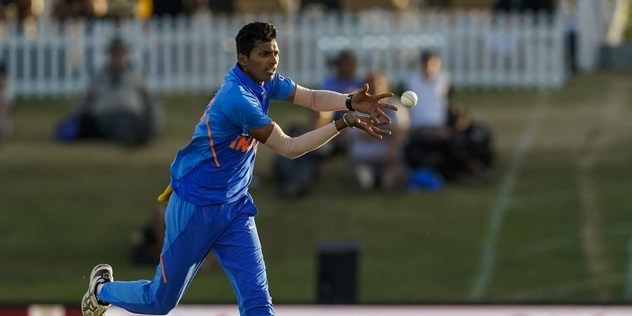 Navdeep Saini in action during the 3rd ODI between India and New Zealand at Tauranga, New Zealand