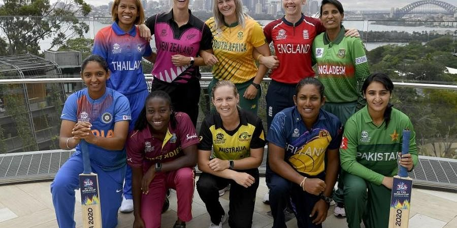 The captains of the competing teams in the Twenty20 women's World Cup in Australia