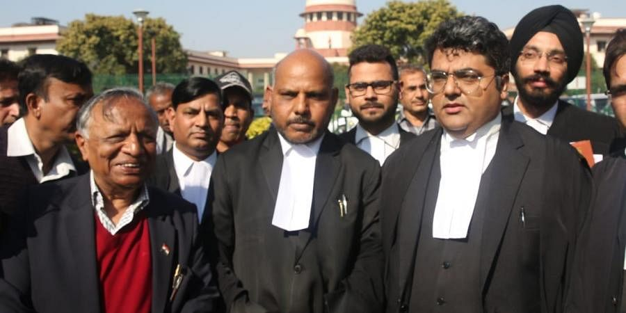 Advocate Amit Sahni and Shashank Deo Sudhi post hearing of the Shaheen Bagh protest case at Supreme court. (Photo| EPS/ Shekhar Yadav)