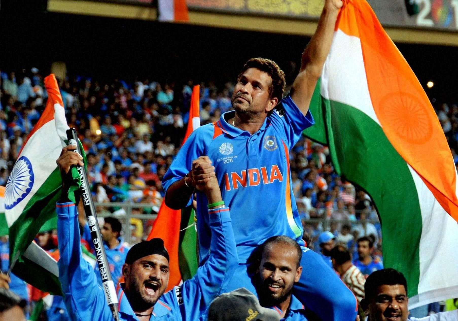 Sachin Tendulkar being carried by teammates after India won the 2011 ICC Cricket World Cup. (File Photo | PTI)