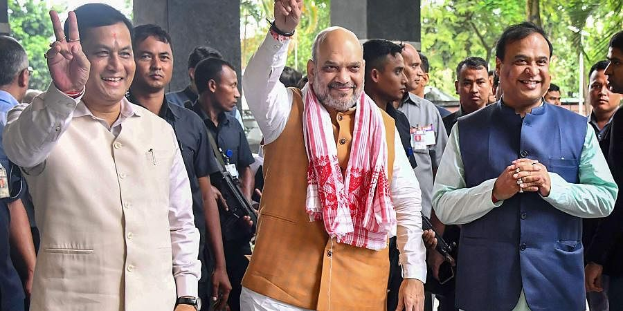 Union Home Minister and Chairman North Eastern Council NEC Amit Shah with Assam Chief Minister Sarbananda Sonowal and Finance Minister of Assam Himanta Biswa Sarma at the 68th Plenary Session of the North Eastern Council at Assam Administrative Staff College in Guwahati on Sunday.