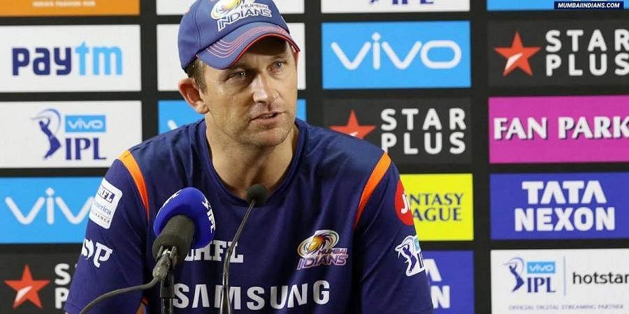 Mumbai Indians bowling coach Shane Bond at a press conference
