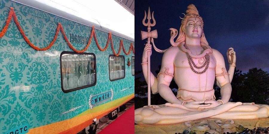 Kashi-Mahakal Express and a statue of Lord Shiva
