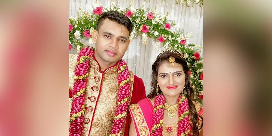 Sushmitha and Sharath on their wedding