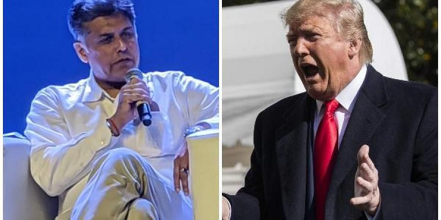 Congress spokesperson Manish Tewari (L) and US President Donald Trump
