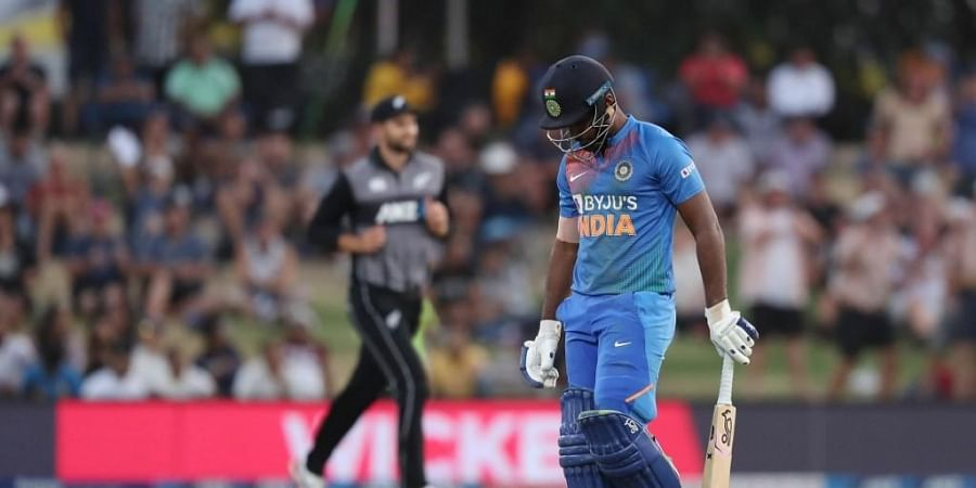Sanju Samson (R) walks off after being dismissed during the fifth Twenty20 cricket match between New Zealand and India at the Bay Oval in Mount Maunganui. (Photo | AFP)