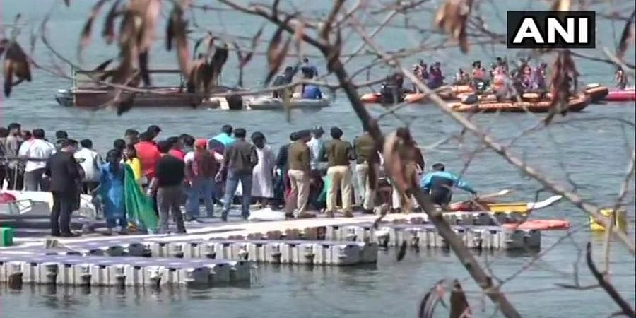 Eight people, including IPS officers, were rescued after their boat capsized in Badi Jheel, during an IPS meet water sports event in Bhopal