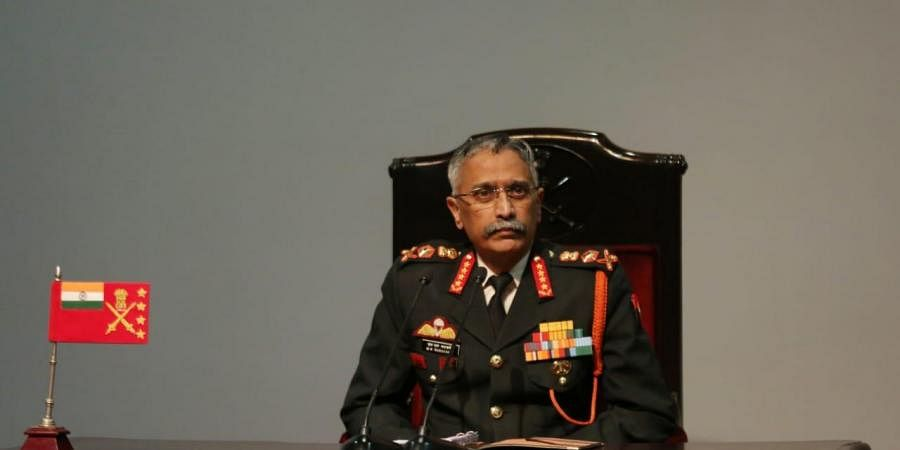 Army chief General Manoj Mukund Naravane addressing the Army Day annual press conference in New Delhi on Saturday. (Photo | Shekhar Yadav/EPS)