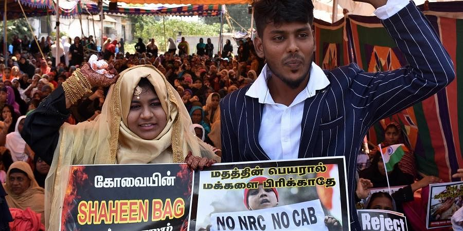 Reshma (L) and Abdul Kalam got married at the venue of an ongoing protest against the Citizenship Amendment Act on Thursday at Athupalam in Coimbatore