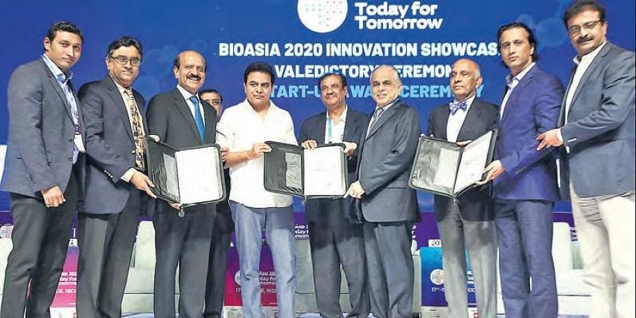IT Minister KT Rama Rao at the MoU signing ceremony between MedTechConnect and the State government to promote healthcare at the 17th edition of BioAsia 2020 in Hyderabad on Wednesday