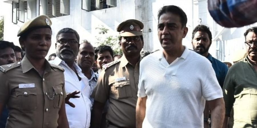 Actor Kamal Hassan returns from KMC mortuary in Chennai after visiting the victims of Indian 2 accident, on Thursday.