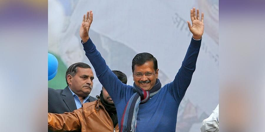 AAP chief Arvind Kejriwal addreses supporters after party's victory in the State Assembly polls