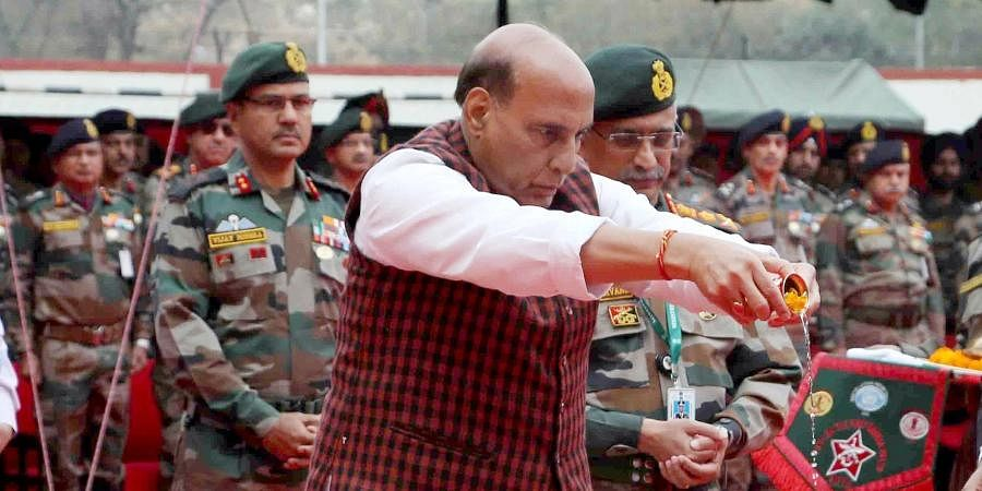 Defence Minister Rajnath Singh performing Bhoomi Pujan during the ground breaking ceremony of Thal Sena Bhawan, at Delhi Cantt