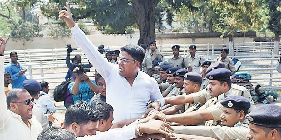 BJYM members staging protest against unemployment at Lower PMG on Thursday.