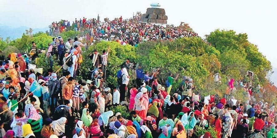 Devotees visiting Mahendragiri hilltop temples on the Eastern ghats near Mandasa in Srikakulam district on Friday.