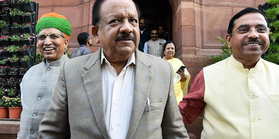 Union Health Minister Harsh Vardhan comes out of the Parliament House during the ongoing Budget Session in New Delhi Friday Feb. 7 2020.