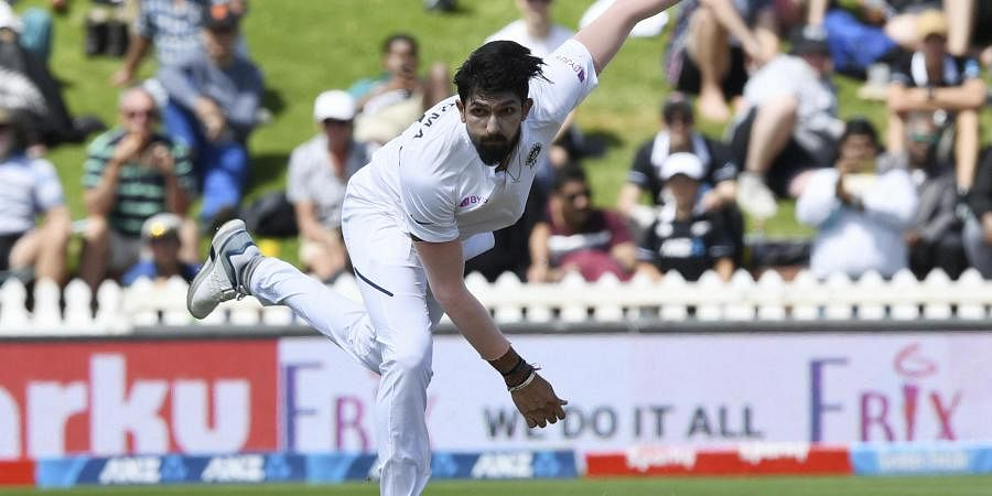India's Ishant Sharma bowls against New Zealand during the first cricket test between India and New Zealand at the Basin Reserve in Wellington.