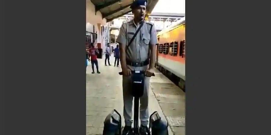 Segway-borne cop at Madgaon station