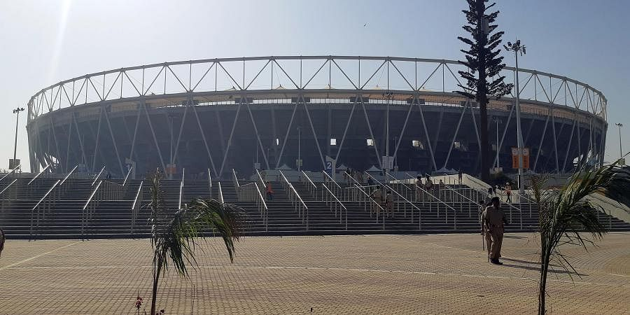 A view of the Motera Stadium which will be inaugurated by Prime Minister Narendra Modi and USA President Donald Trump during his visit, in Ahmedabad