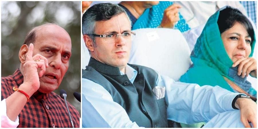Defence Minister Rajnath Singh (L) and former J&K chief ministers Omar Abdullah and Mehbooba Mufti