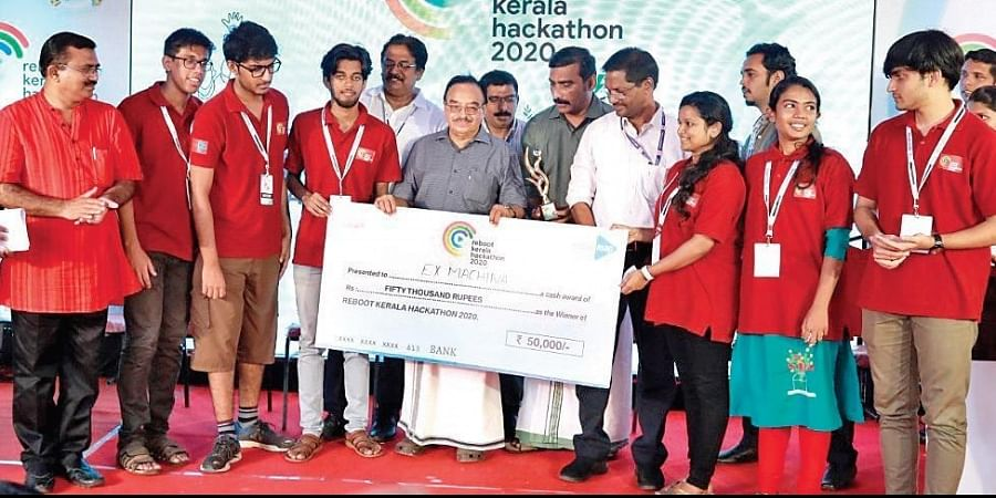 The Mar Athanasius College of Engineering, Kothamangalam, team receiving the first prize of Reboot Kerala Hackathon 2020 from Abdu Rabb, MLA, on Sunday