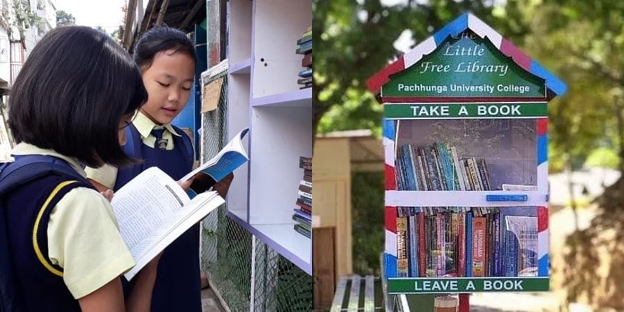 The roadside library encourages reading habits and helps in building community by providing access to exchange free books.