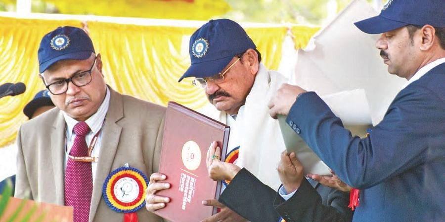 Vice-President Venkaiah Naidu at the closing ceremony of 20th All India Police Band Competition at Railway Sports Complex Grounds in Secunderabad on Sunday