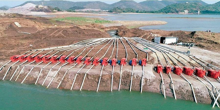 Downstream dewatering works under progress at Polavaram site in West Godavari district.