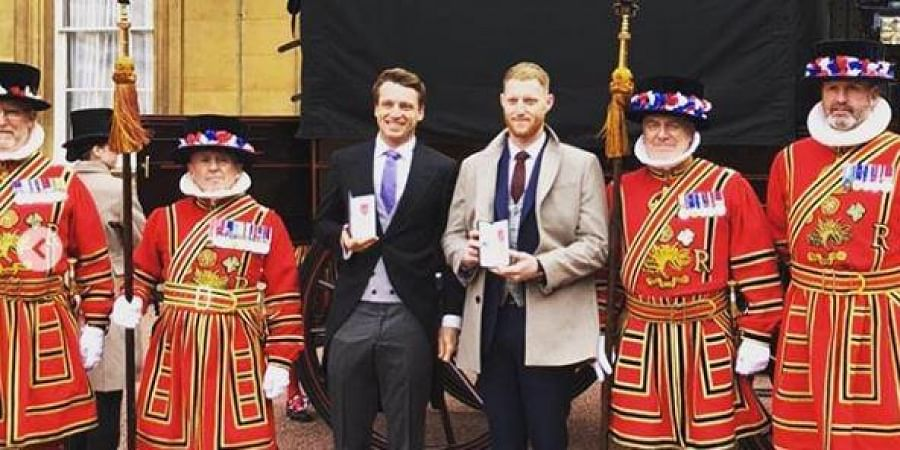 England cricketers Ben Stokes and Jos Buttler at the Buckingham Palace.