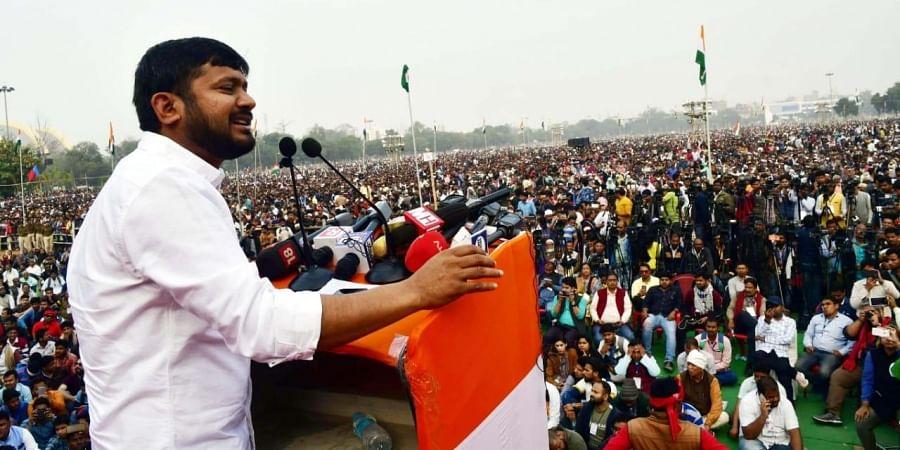 Kanhaiya Kumar at the 'Samvidhan Bachao' rally in Patna
