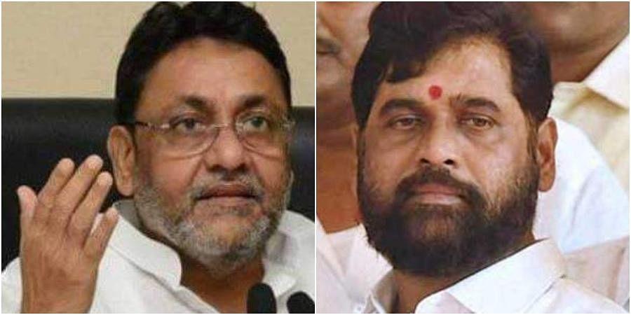 Maharashtra Minority Affairs minister Nawab Malik (L) & Urban Development minister Eknath Shinde