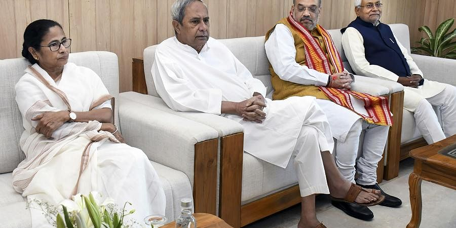 West Bengal Chief Minister Mamata Banerjee, Odisha Chief Minister Naveen Patnaik, Home Minister Amit Shah and Bihar Chief Minister Nitish Kumar during 24th Eastern Zonal Council meeting, in Bhubaneswar, Friday, Feb. 28, 2020.