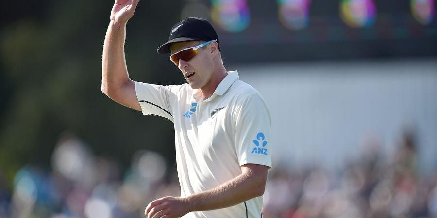New Zealand's Kyle Jamieson acknowledges the crowd after taking five consecutive wickets on day one of the second Test cricket match between New Zealand and India at the Hagley Oval in Christchurch on February 29, 2020.