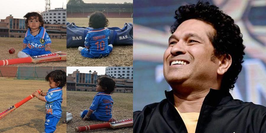 Indian batsman legend Sachin Tendulkar (R) and 10-month old fan