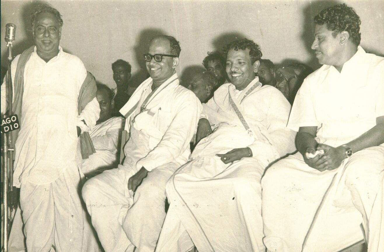 Former Chief Minister of Tamil Nadu CN Annadurai, Karunanidhi and S S Rajendran.