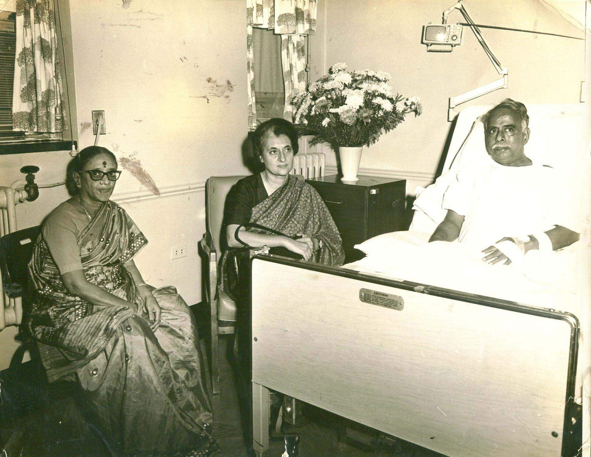 Former Prime Minister Indira Gandhi paying a courtesy visit to Annadurai C N former Tamil Nadu Chief Minister who is undergoing a treatment.