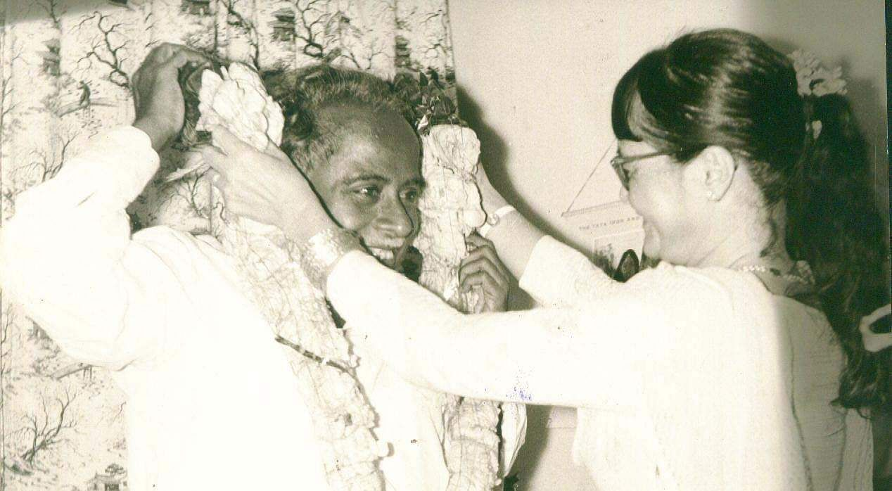 Annadurai CN, former Chief Minister of Tamil Nadu being greeted on the smashing success of DMK in the elections.