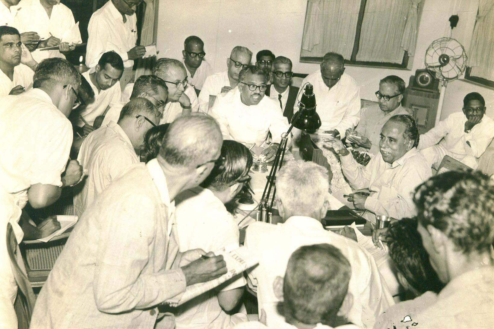 Annadurai CN, TN Chief Minister addressing the press conference in his chambers at Fort St George.