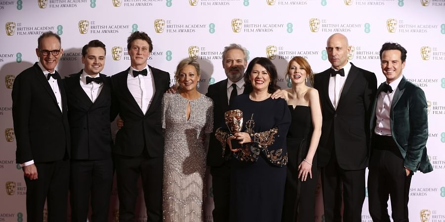 From left, Callum McDougall, Charles Chapman, George Mackay, Jayne-Ann Tenggren, Sam Mendes, Pippa Harris, Krysty Wilson-Cairns, Mark Strong and Andrew Scott, winners of Best Film for 1917, backstage at the Bafta Film Awards, in central London, Sunday, Feb. 2, 2020. (Photo | AP)
