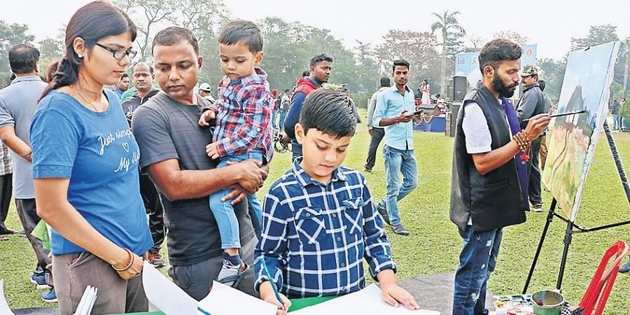 BMC Commissioner Prem Chandra Chaudhary along with his family participate in Park Utsav at IG Park on Sunday