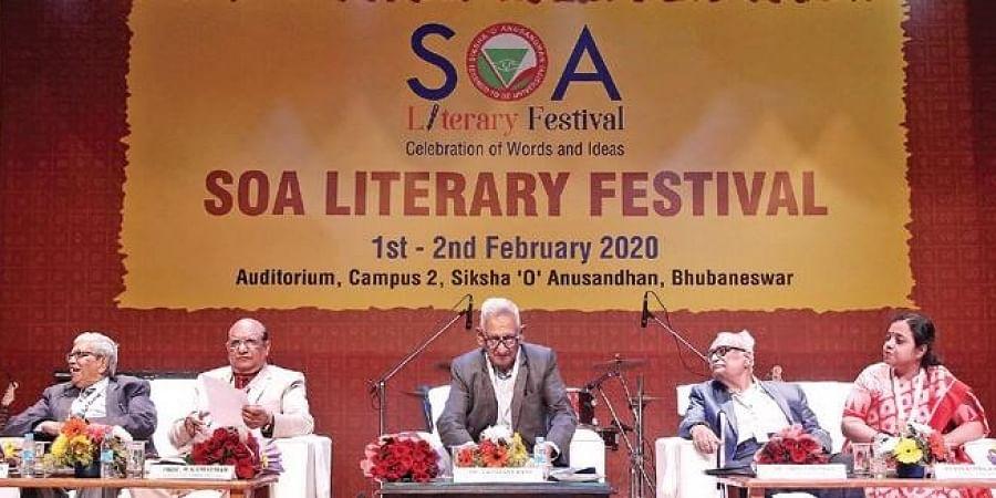 Speakers during the valedictory ceremony of SOA Literary Festival in Bhubaneswar on Sunday